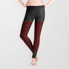 Black & Red Leather Texture Print Leggings
