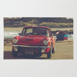 Triumph Spitfire by the sea, with ship, fine art photo, british car, sports car, color, high definit Rug