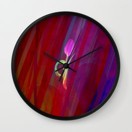 Neon Tulip in Redness Wall Clock