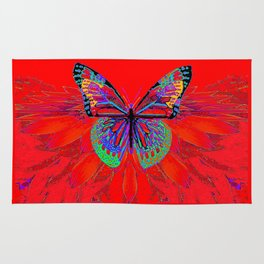 Infra-red Fantasy Butterfly Pattern Abstract Rug