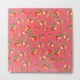 Strawberies pink pattern Metal Print