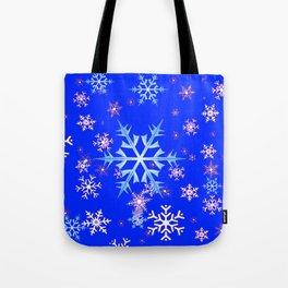DECORATIVE BLUE  & WHITE SNOWFLAKES PATTERNED ART Tote Bag