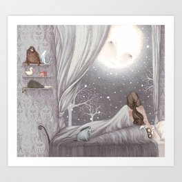 Sophie and the Moon Art Print