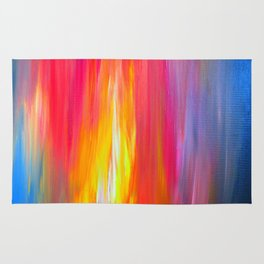 BRIGHT HORIZONS Bold Colorful Rainbow Pink Yellow Blue Abstract Painting Sunrise Sunset Stripes  Rug