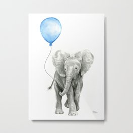 Baby Animal Elephant Watercolor Blue Balloon Baby Boy Nursery Room Decor Metal Print