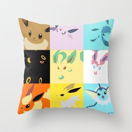 Eevee evolutions square- Eeeveelutions PKMN Throw Pillow