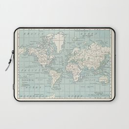 World Map in Blue and Cream Laptop Sleeve