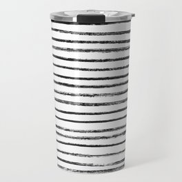 Black Brush Lines on White Travel Mug