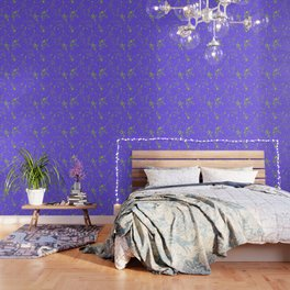 Lime Green Spray Splatters on Lavender Surface Wallpaper