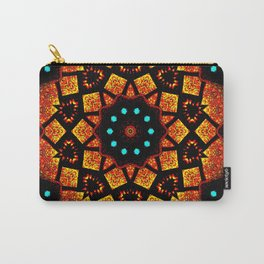 Bright Red Orange Mosaic Kaleidoscope Mandala Carry-All Pouch