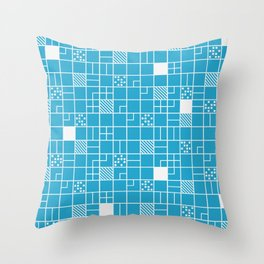 Inverted Boxes Blue Throw Pillow