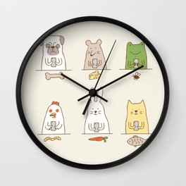 animals on social media Wall Clock