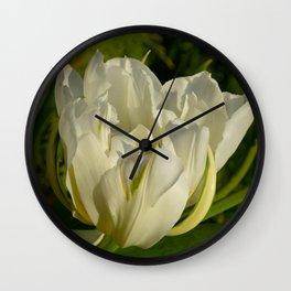 Double White Tulip by Teresa Thompson Wall Clock