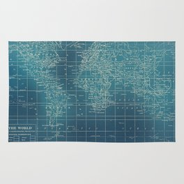 Grunge World Map Rug