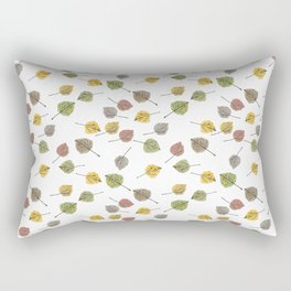 Colorado Aspen Tree Leaves Hand-painted Watercolors in Golden Autumn Shades on Clear Rectangular Pillow