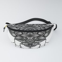 Black and White Lotus Flower Beads Mandala Zentangle Fanny Pack