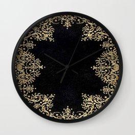 Black and Gold Filigree Wall Clock