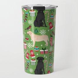 Labrador retrievers christmas festive holiday gifts for dog lover in your life dog breeds custom art Travel Mug