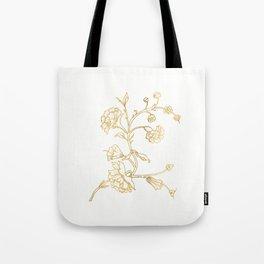 Golden flower on white background . artwork . Tote Bag