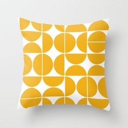 Mid Century Modern Geometric 04 Yellow Throw Pillow