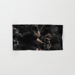 Chic abstract rose gold black elegant marble Hand & Bath Towel