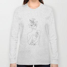 Minimal Line Art Woman with Flowers IV Long Sleeve T-shirt