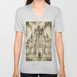 York Minster Cathedral Vintage Unisex V-Neck