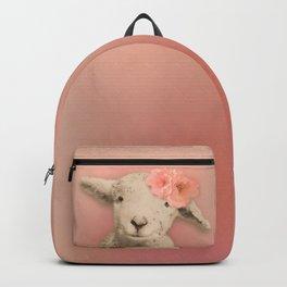 Flower Sheep Girl Portrait, Dusty Flamingo Pink Background Backpack
