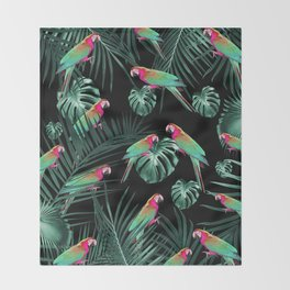 Parrots in the Tropical Jungle Night #1 #tropical #decor #art #society6 Throw Blanket