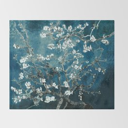 Van Gogh Almond Blossoms : Dark Teal Throw Blanket