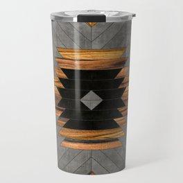 Urban Tribal Pattern 6 - Aztec - Concrete and Wood Travel Mug