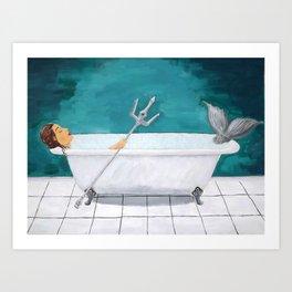 Mermaid Bath Art Print