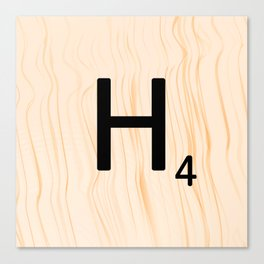 Scrabble Letter H - Large Scrabble Tiles Canvas Print
