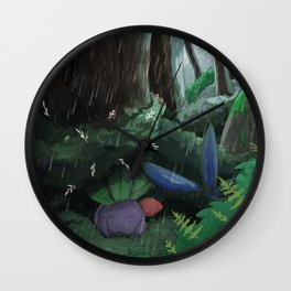 Oddish in the rain Wall Clock