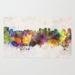 Halifax skyline in watercolor background Rug