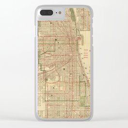 Vintage Map of The Chicago Railroads (1906) Clear iPhone Case