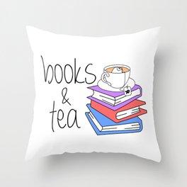 Books and Tea Bookworm Throw Pillow
