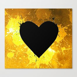 Yellow Watercolor splashed heart texture Canvas Print