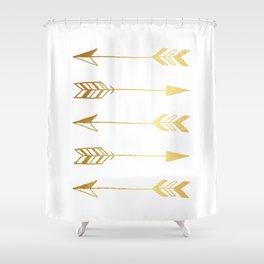 Faux Gold Foil Arrows Shower Curtain