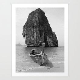 Black and White Krabi beach Art Print