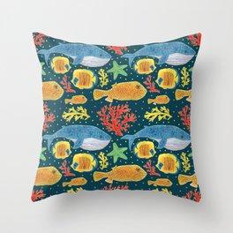 Sea Life Print Throw Pillow