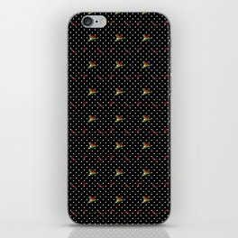 Chili Peppers & Flowers on Micro Polka Dots iPhone Skin