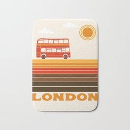 London travel poster 70s style colors doubledecker bus england anglophile Bath Mat