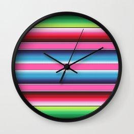 Pink Green Blue Mexican Serape Blanket Stripes Wall Clock