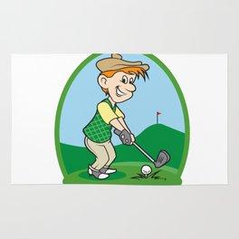boy cartoon golf player Rug