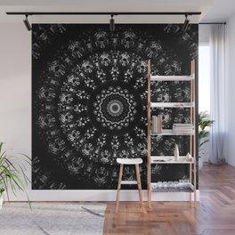 Kaleidoscope crystals mandala in black and white Wall Mural