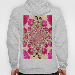 modern art cerise pink hollyhock & yellow butterflies Hoody