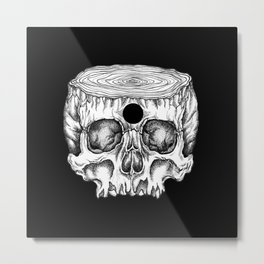 Skull/Wood II Metal Print