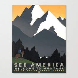 See America Welcome to Montana Vintage Poster - WPA Canvas Print