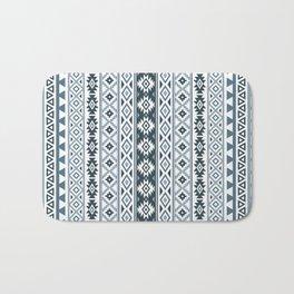 Aztec Stylized Pattern Gray-Blues & White Bath Mat